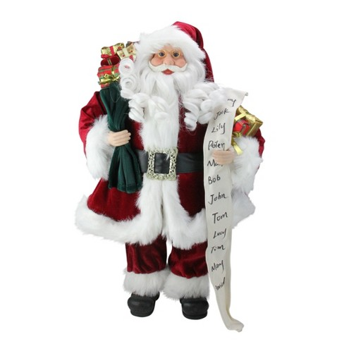 "Northlight 24"" Santa Claus with Naughty or Nice List and Bag of Presents Christmas Figure - image 1 of 4"