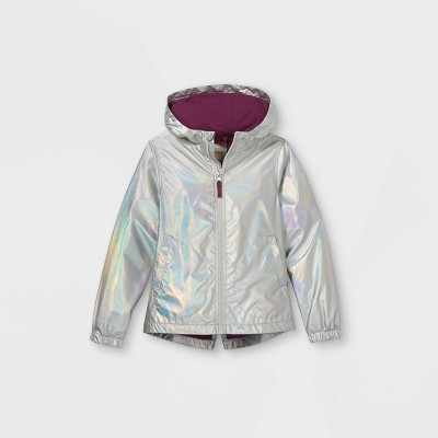 Girls' Metallic Foil Windbreaker Jacket - Cat & Jack™ Silver