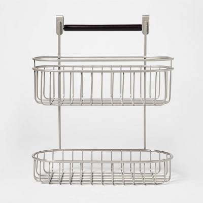 2-Tier Over the Cabinet Hanging storage Caddy with Towel Bar Nickel - Threshold™