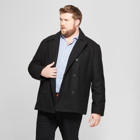 Men s Big   Tall Wool Pea Coat - Goodfellow   Co™ Black   Target a712e2a46