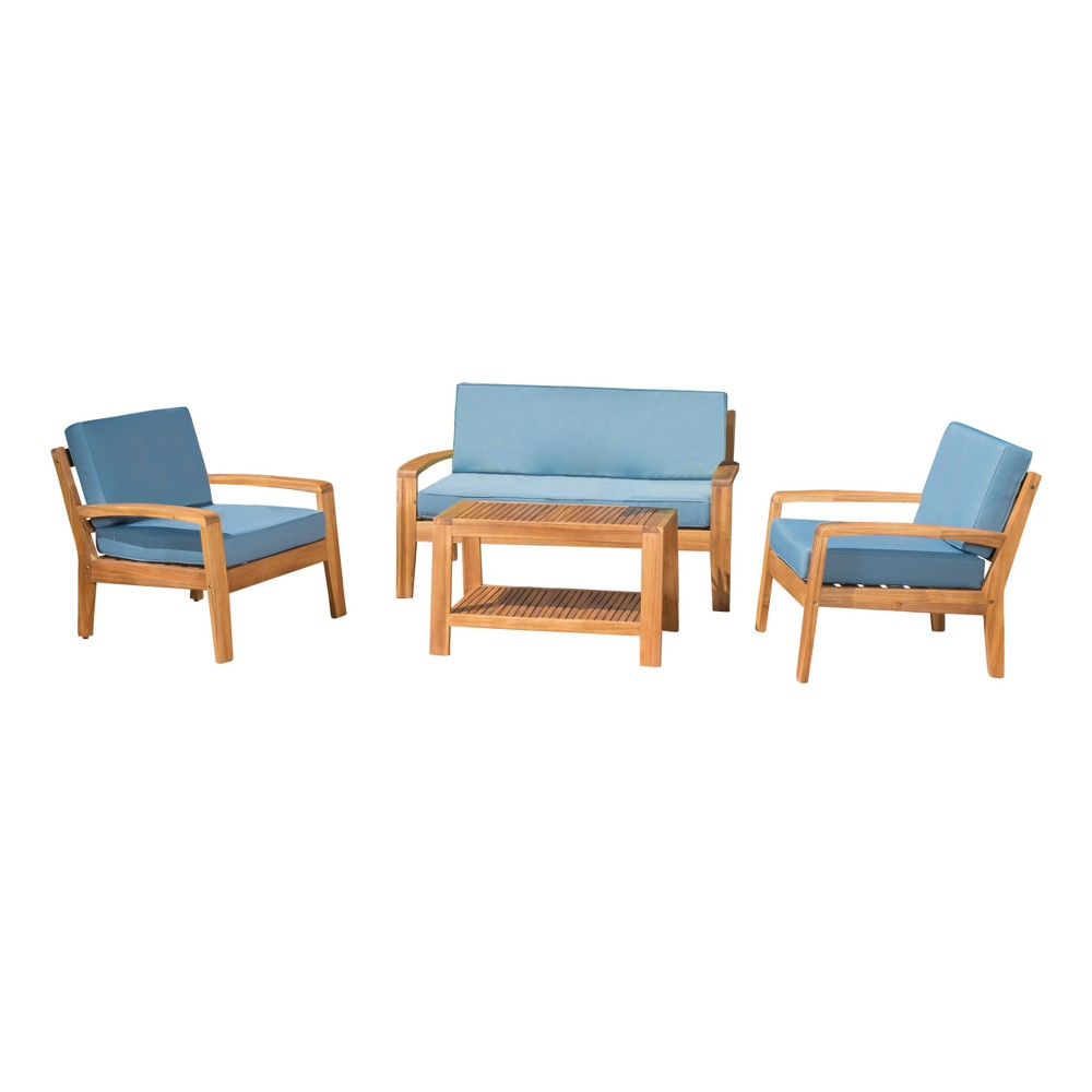 Grenada 4pc Acacia Chat Set - Teak/Blue (Brown/Blue) - Christopher Knight Home
