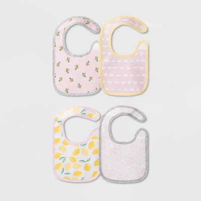 Baby Girls' 4pk Oh Honey Bee Bib Set - Cloud Island™ One Size
