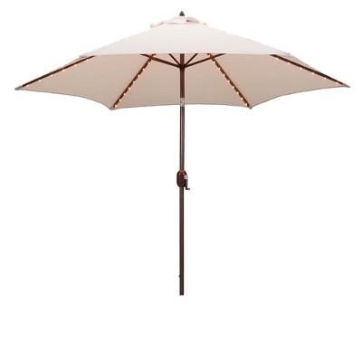 9' Round Lighted Patio Umbrella Cream - Tropishade
