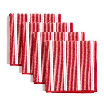 """8pk 12""""X12"""" Rainbow Stripe Dish Cloths Red - Town & Country Living"""