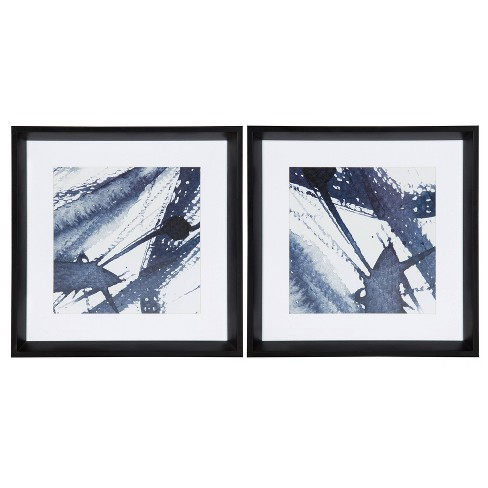 2pc Calter Indigo Watercolor Framed Print Art Set By Amy Peterson Black - Kate and Laurel - image 1 of 4