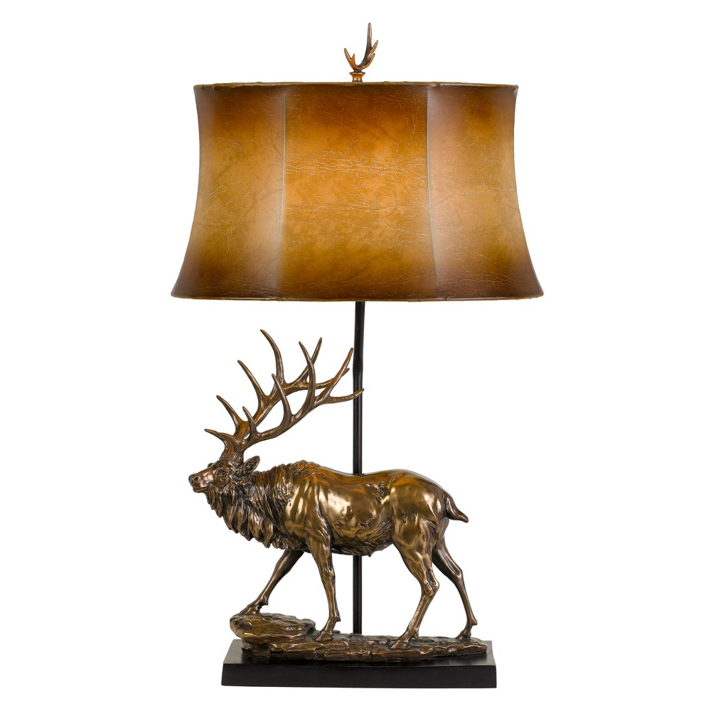 Image of 150W 3 Way Deer Resin Table Lamp With Leathrette Shade - Cal Lighting