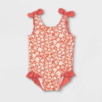 Baby Girls' Floral Print One Piece Swimsuit - Cat & Jack™ Rust