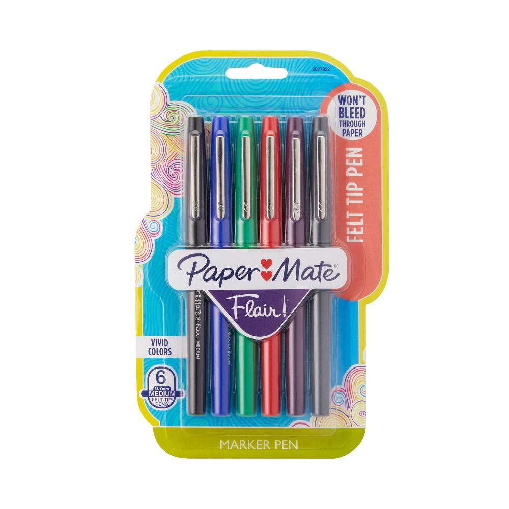 Image of Paper Mate Flair 6pk Felt Tip Pens Assorted Colors