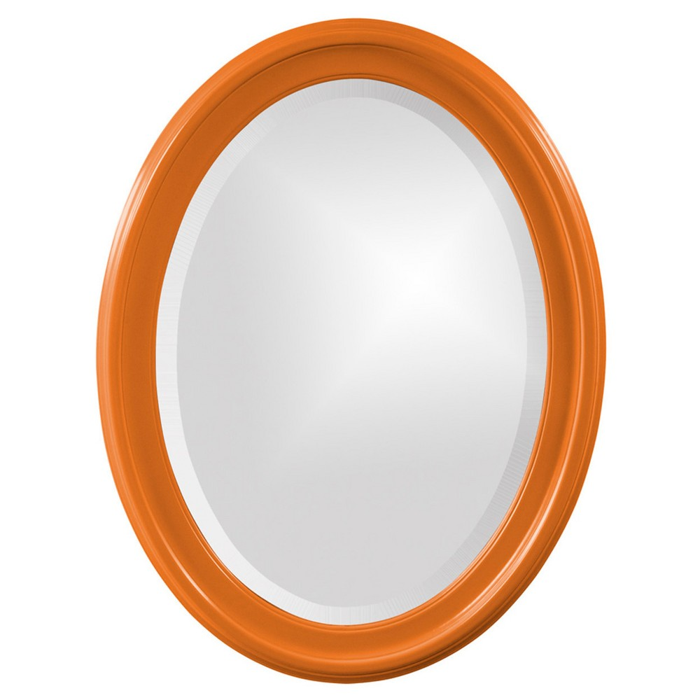 Image of Howard Elliott - George Glossy Orange Oval Mirror, Neon Orange