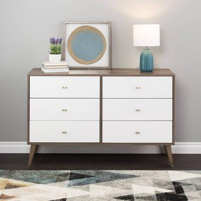 Mid Century Modern 6 Drawer Dresser - Prepac