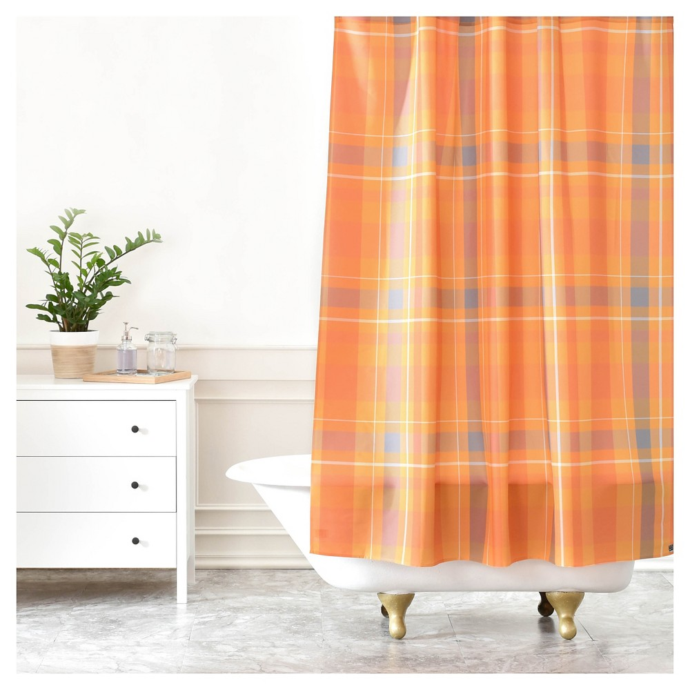 Image of Allyson Johnson Fall Time Plaid Shower Curtain Pumpkin - Deny Designs, Orange Multicolored