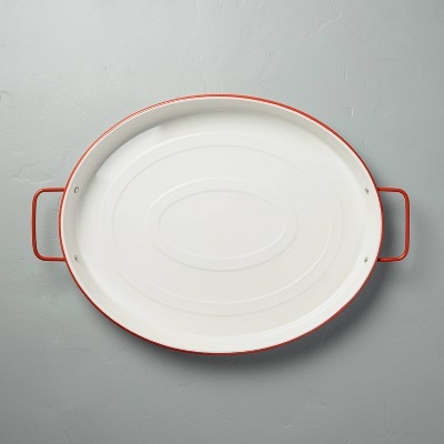 Oval Enamel Serve Tray with Handles Red/Cream - Hearth & Hand™ with Magnolia