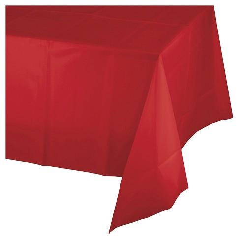 Clic Red Plastic Tablecloth Spritz