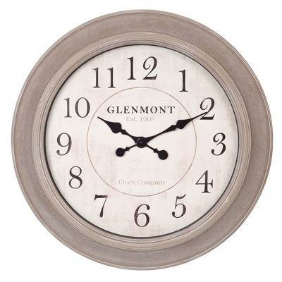 24  Woodgrain Circle Wall Clock Gray - Patton Wall Decor