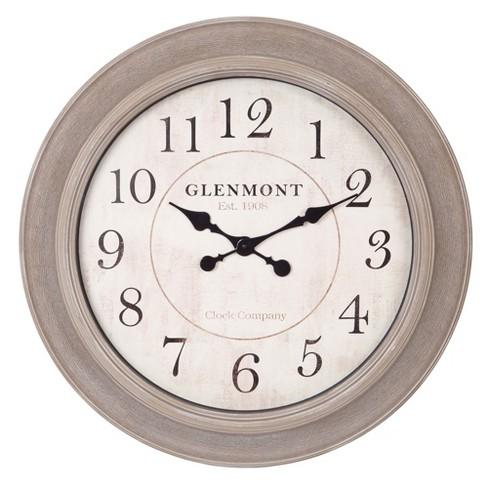 24 Woodgrain Circle Wall Clock Gray Patton Wall Decor Target