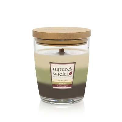 10oz Lidded Glass Jar Layered Candle Vanilla Dolce/Apple Tree/Bonfire Nights - Nature's Wick