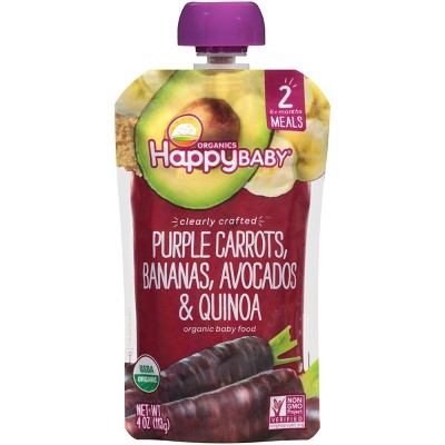 Happy Baby Clearly Crafted Purple Carrot Bananas Avocado & Quinoa - 4oz