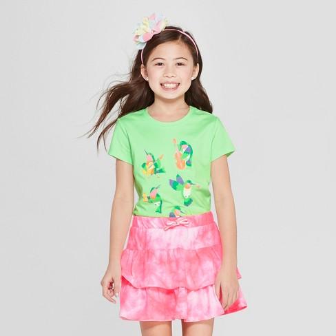 Girls' Short Sleeve Musical Birds Graphic T-Shirt - Cat & Jack™ Green - image 1 of 4