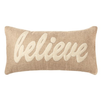 'Believe' Throw Pillow Beige - Rizzy Home