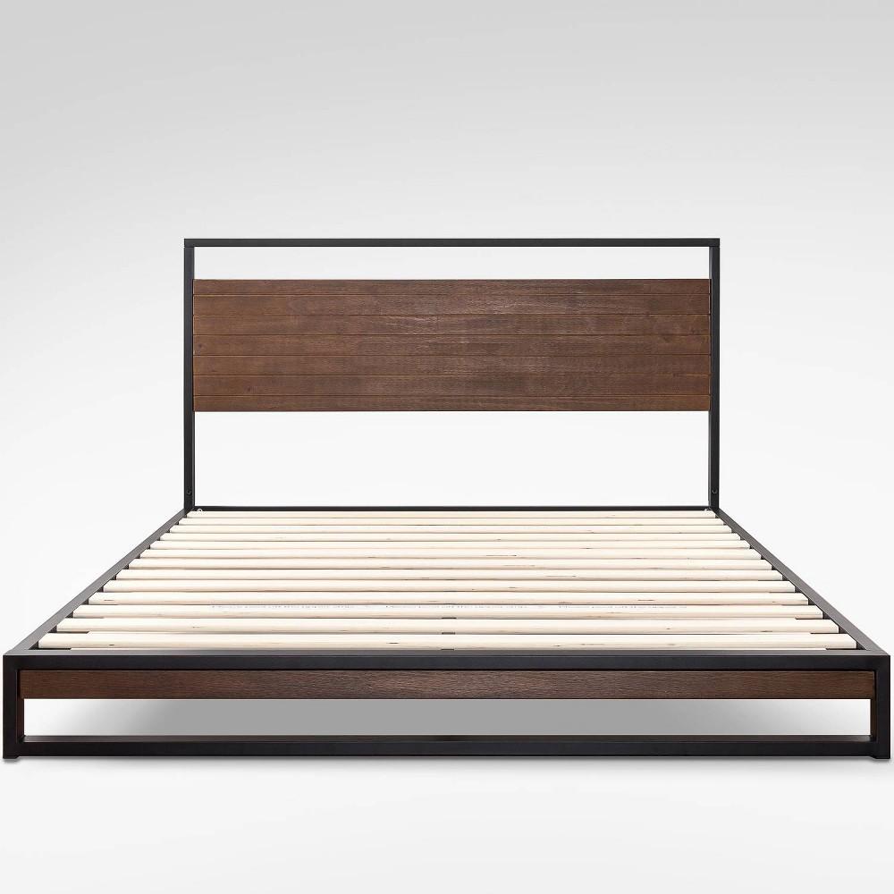 King Suzanne Platform Bed with Headboard Black - Zinus