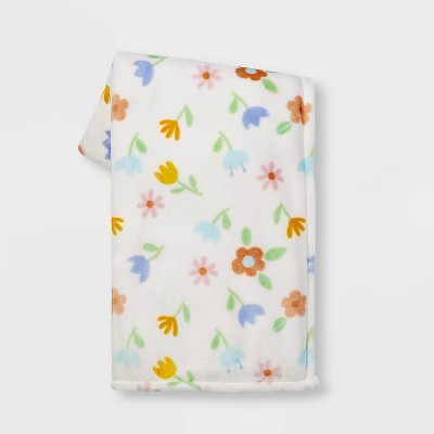 Floral PrintedPlush Easter Throw Blanket White - Spritz™