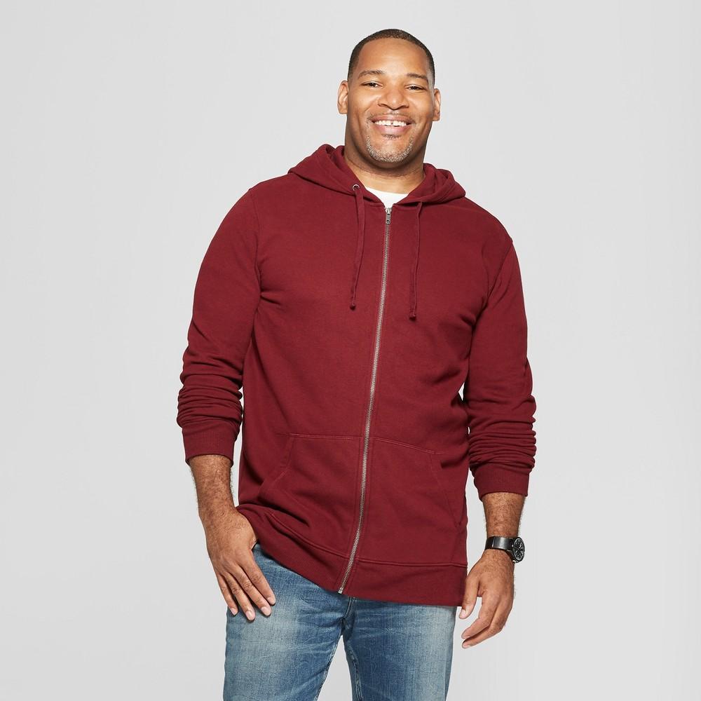 Men's Tall Long Sleeve Fleece Full Zip Hoodie - Goodfellow & Co Berry Cobbler Xlt
