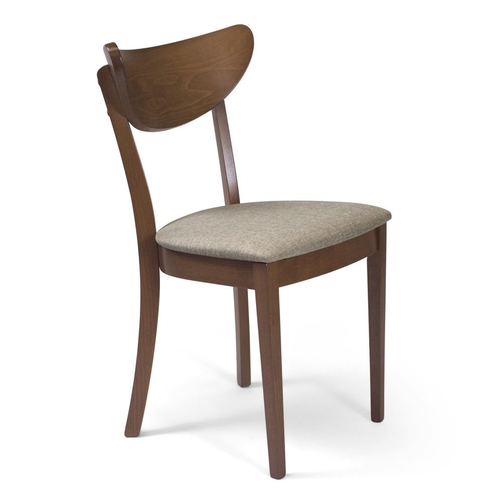 Hilde Dining Chair with Upholstered Seat Set of 2 Walnut (Brown) - Aeon