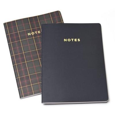 Soft Cover Jr. Notebook Set Plaid and Gold Foil 2ct - Gartner Studios