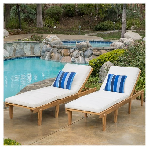 Ariana Set Of 2 Acacia Wood Patio Chaise Lounge With Cushion Teak Finish Christopher Knight Home Target