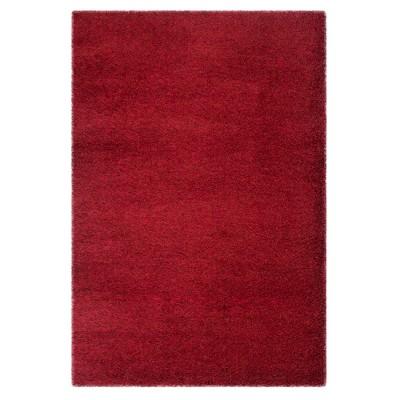 """Red Solid Shag/Flokati Loomed Area Rug 5'1""""X7'6"""" - Safavieh"""