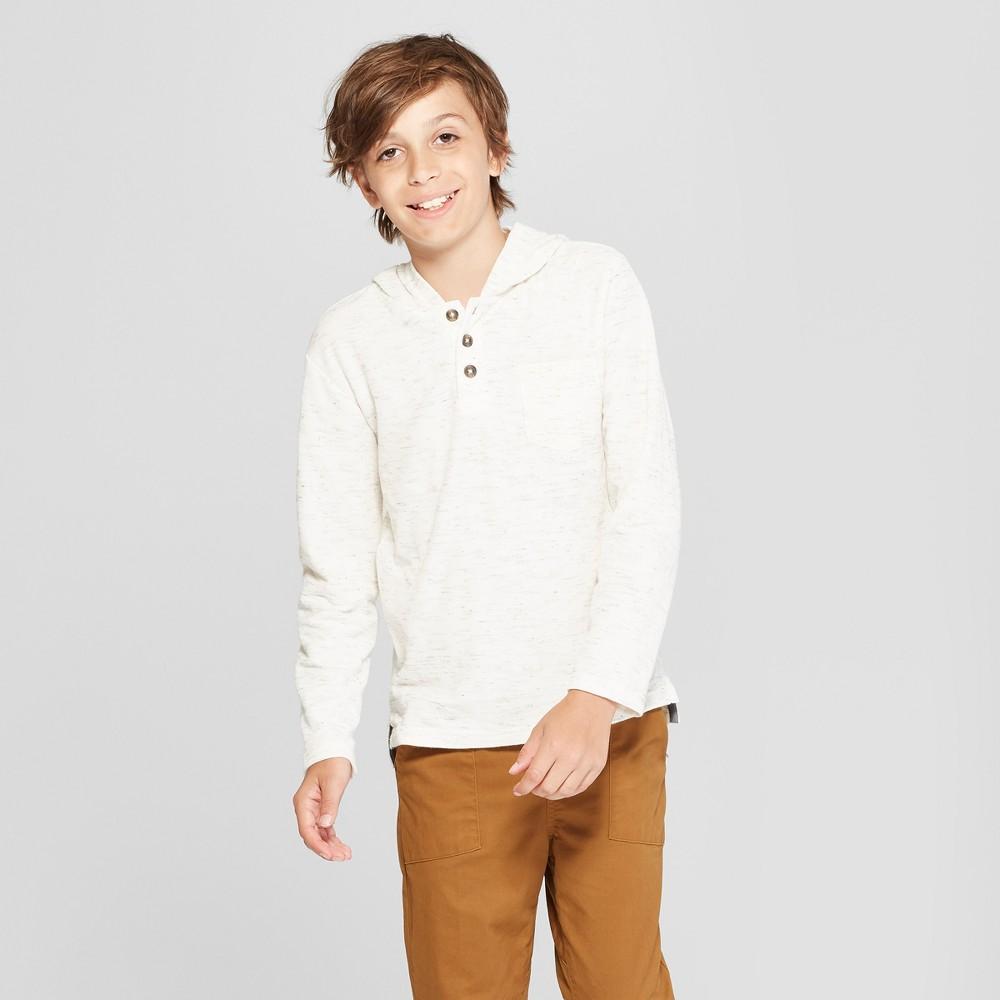 Boys' Long Sleeve Sweatshirt - Cat & Jack White L, Beige