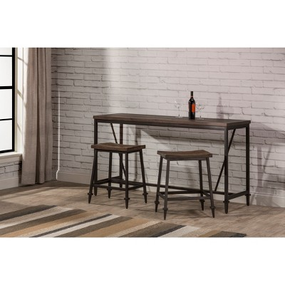 3pc Trevino Counter Height Dining Set Brown/Copper Metal - Hillsdale Furniture