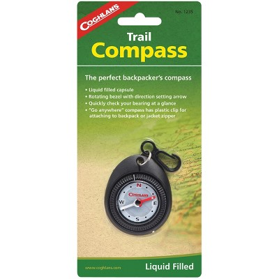 Coghlan's Trail Compass w/ Attached Clip, Liquid Filled for Backpackers Hiking