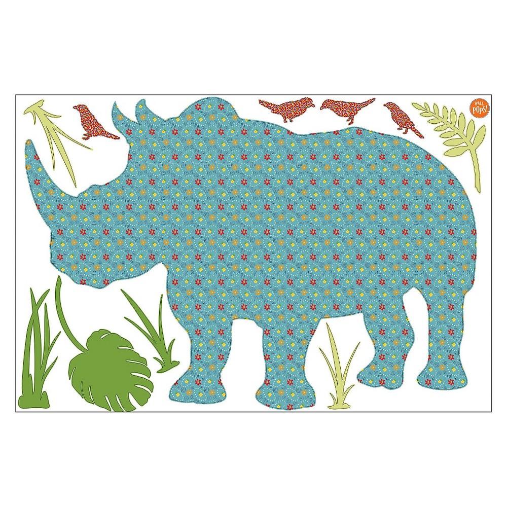 WallPops! Rupert The Rhinoceros Wall Art Kit - Blue/Green