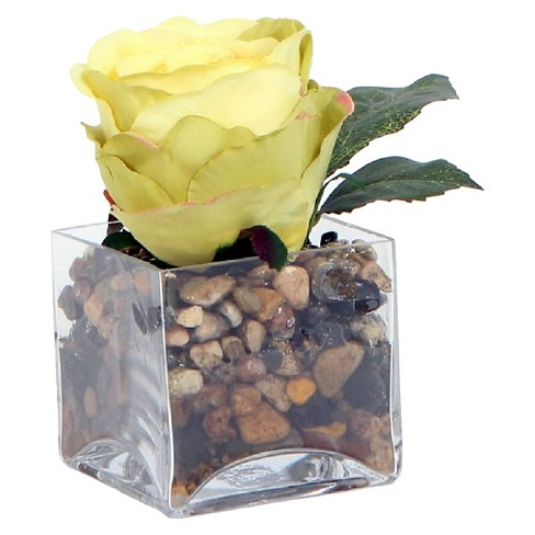 "Square Glass Artificial Arrangement - Yellow Rose (6"") - image 1 of 1"