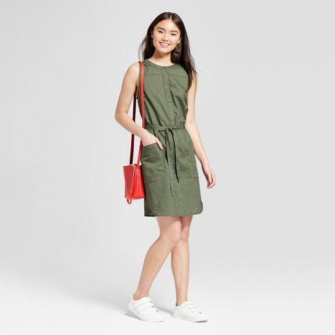 Women's Sleeveless Linen Shirtdress - A New Day™ Olive - image 1 of 3