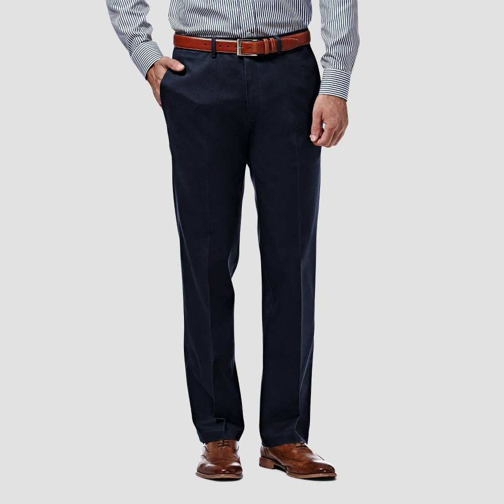 Haggar Men 39 S Premium No Iron Straight Fit Flat Front Casual Pants Dark Navy 32x30