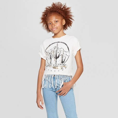 Girls' Short Sleeve Raw Edge Cactus T-Shirt - art class™ Cream - image 1 of 3