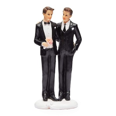 Sparkle and Bash Gay Groom Figurines Wedding Cake Topper for Same Sex Wedding Party Decorations Gifts