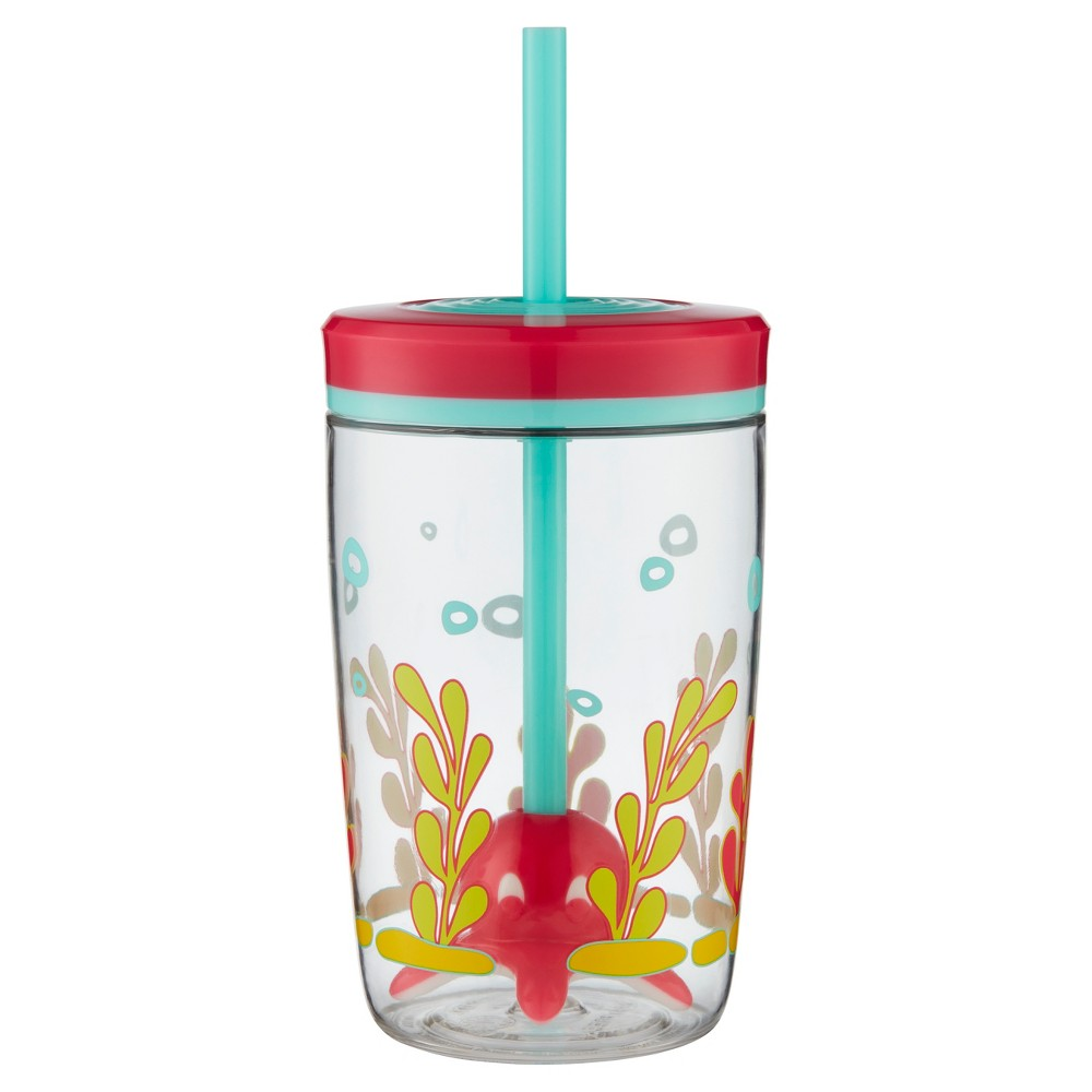 Bueno Plastic Floating Straw Tumbler 16oz - Pink Squid