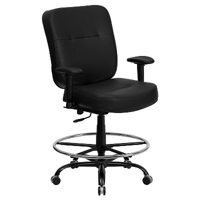 Merveilleux Capacity Big U0026 Tall Drafting Chair Extra Wide Seat Black Leather   Flash  Furniture