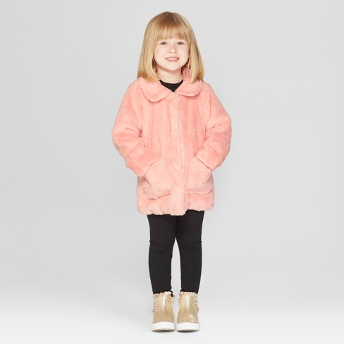 75f67e5f4a57 Toddler Girls  Faux Fur Jacket - Cat   Jack™ Pink   Target
