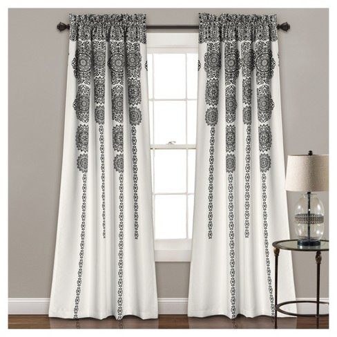 Stripe Medallion Room Darkening Window Curtain Set 84x52 Lush
