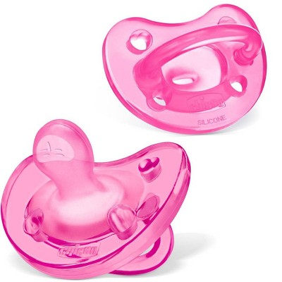 Chicco PhysioForma Soft Silicone Pacifier - Pink 0-6m 2pc
