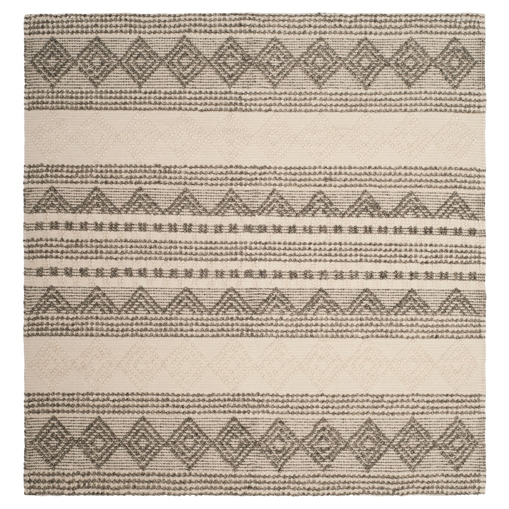 Gray/Ivory Fair Isle Design Tufted Square Area Rug 6'X6' - Safavieh