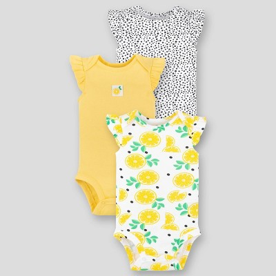 Lamaze Baby Girls' Organic Cotton 3pk Short Sleeve Bodysuit - Yellow Newborn