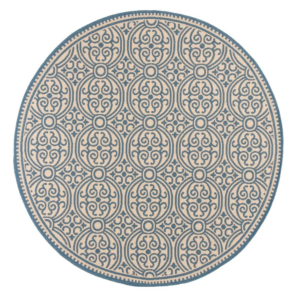 6'7 Medallion Loomed Round Area Rug Blue/Cream (Blue/Ivory) - Safavieh