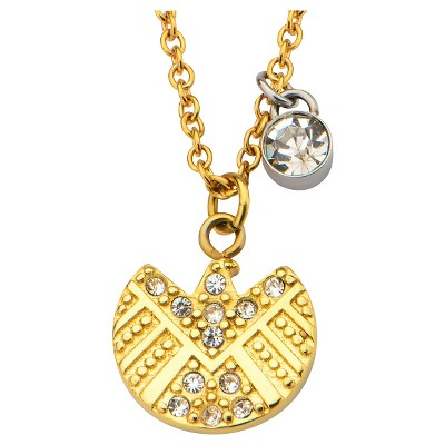"""Women's Marvel S.H.I.E.L.D. Logo Stainless Steel Gold IP Pendant Necklace with Clear CZ (18"""")"""