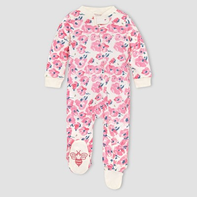 Burt's Bees Baby® Baby Girls' Organic Cotton Bold Blossoms Sleep N' Play - Off-White/Pink 0-3M