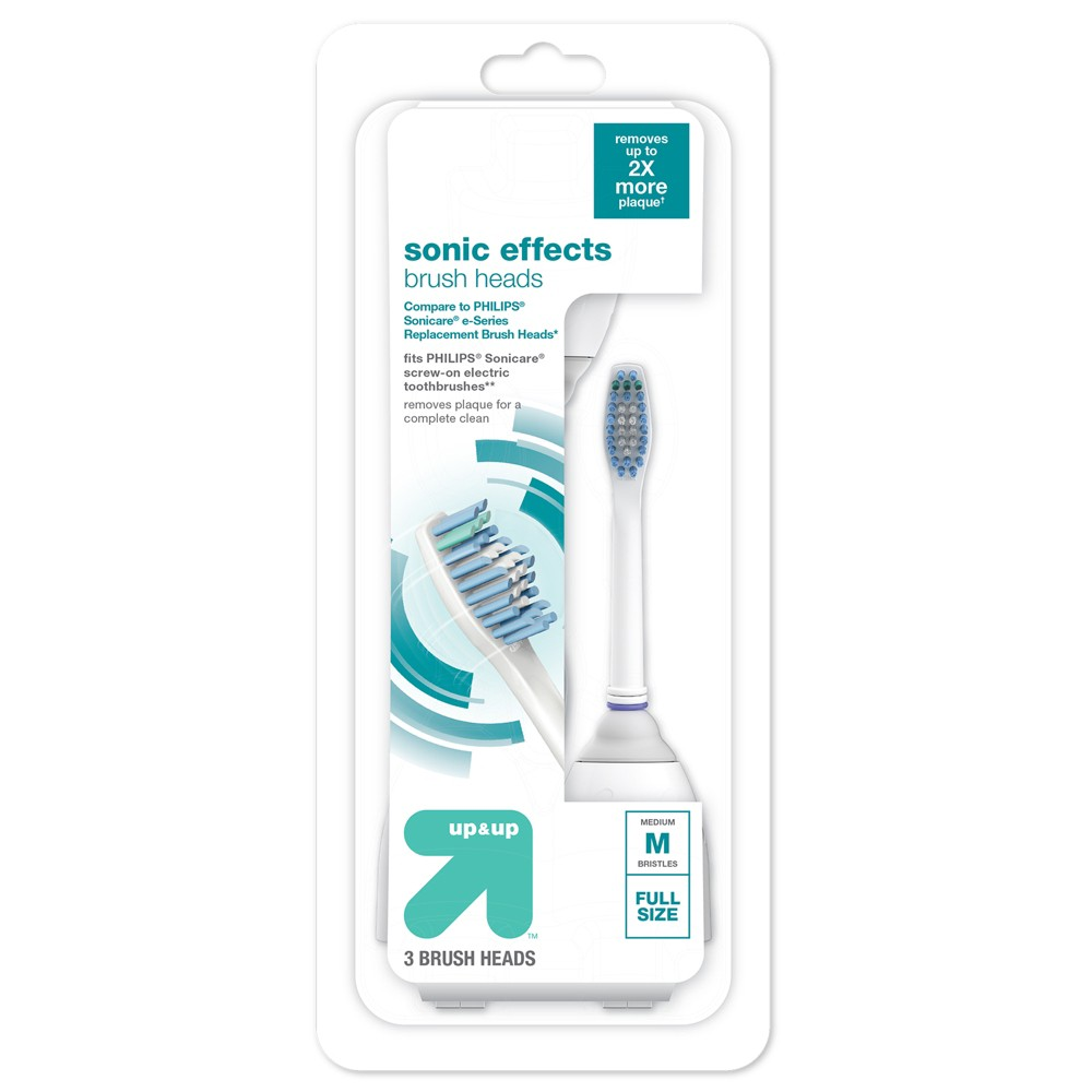 Sonic Effects Replacement Brush Heads 3pk - Up&Up (Compare to Philips Sonicare e Series Replacement Brush Heads)
